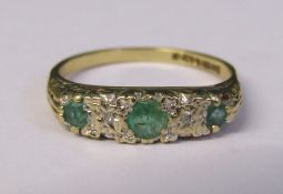 9ct gold emerald and diamond accent ring size M weight 1.7 g