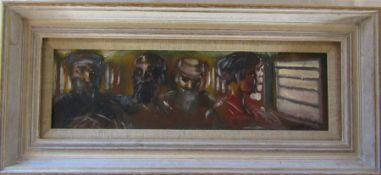 Jonathan Armigel Wade - oil on board 'In a Pakistani railway carriage 1993' signed and dated J A