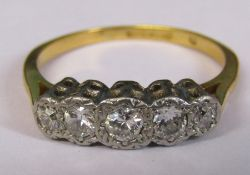 Tested as 18ct gold five stone diamond ring weight 3.2 g, total carat size approximately 0.33 ct,