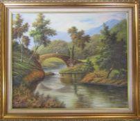 Gilt framed oil on canvas of a bridge and stream 74 cm x 63 cm (size including frame)