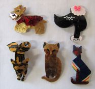 5 Lea Stein style brooches relating to dogs, cats and foxes