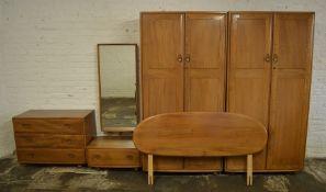 Ercol elm bedroom suite consisting of 2 double wardrobes (each wardrobe measures H 182. cm D 54.5 cm