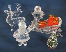 Swarovski crystal Santa Claus 221362 H 7 cm, reindeer 214821, snowman 250229 and Santa's sleigh L 11