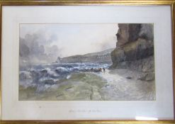 Watercolour 'Heavy weather off Staithes' by J M Brookes '95 67 cm x 46 cm (size including frame)