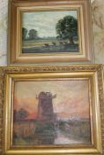 Gilt framed oil on canvas depicting windmill (indistinguishable signature) & small oil on board