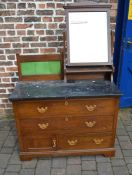 Victorian oak wash stand / chest of drawers