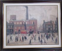 Framed L S Lowry print 'Coming home from the Mill' 79 cm x 63 cm (size including frame)