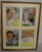 4 signed prints of international cricketers in a frame