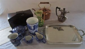 Various ceramics inc Ringtons, silver plate, sewing box (af), copper kettle etc