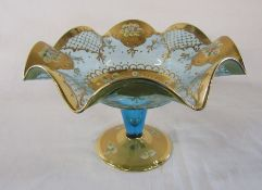 Blue glass and gilt decorated bowl / tazza H 19 cm D 28 cm