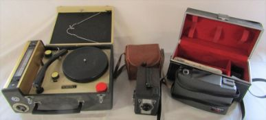Crown radio phonograph record player, Conway box camera & Polaroid 440 camera