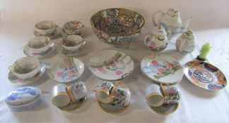 Various Oriental ceramics inc bowl and part tea set (teapot spout af) etc
