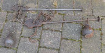 2 antique iron steelyard scales