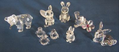 Various Swarovski crystal figures inc grizzly bear with fish, fox (one fox ear needs reattaching),