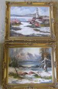 2 gilt framed oil on board paintings by L Treacher ' Incoming Tide' and 'Alpine snow scene' 76 cm