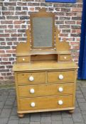 Victorian scrumbled pine chest of drawers / dressing table