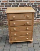 Pine chest of drawers H 96 cm L 68 cm D 44 cm