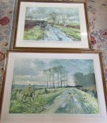 2 framed Belvoir hunt prints by Michael Lyne signed in pencil by the artist - Running into Goadby
