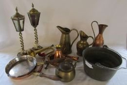Various brass and copper ware inc table lamps, flambe pans and jugs