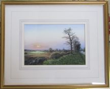 Framed watercolour 'Winter evening near Claxby' by E L Littlewood 54 cm x 44 cm (size including
