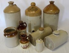 3 stoneware flagons inc. W N Mason Alford, 2 hotwater bottles etc.