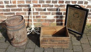 Small wooden barrel with spigot, wooden whisky box, commemorative folding fire screen & wrought iron