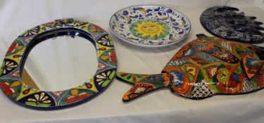 Large Mexican art pottery sun dish, moon wall plaque, decorative mirror & fish