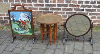 Toilet mirror, fire screen with hunting scene & a folding brass top table
