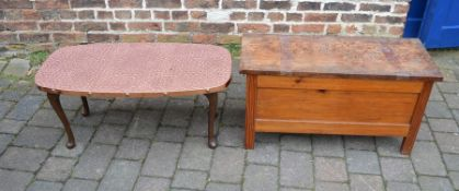 Small blanket box & a hammered copper top coffee table