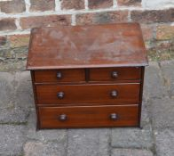 Miniature mahogany chest of drawers (missing piece to base)