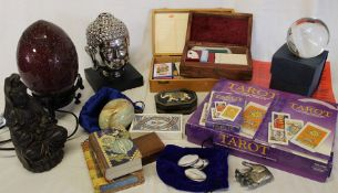 Crystal ball, Tarot cards, Angel cards, dowser, decorative boxes, lamp etc.