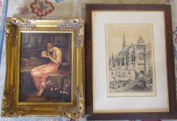 Gilt framed print of a young woman 45 cm x 54 cm and a framed engraving by Axel H Haig, signed in