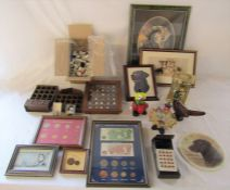 Various thimbles and display stands, assorted dog prints (sample shown), Rockwell calculator,