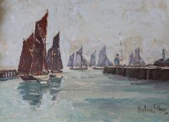 Gilt framed oil on board depicting sailing boats by Rowland Fisher RA RMSA ROI (1885 - 1969) size