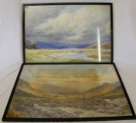 Pair of framed watercolours depicting mountainous landscapes by Watson Charlton 56.5 cm x 40 cm inc.