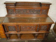 Early 20th century carved walnut sideboard W 180cm Ht 151cm D 65cm