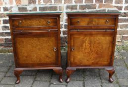 Pair of walnut bedside cabinets with brushing slides L 43 cm H 67 cm D 33 cm