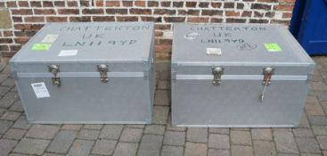 2 large aluminium trunks 97cm 74cm 56cm