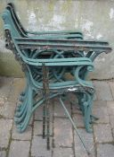 2 x pairs cast iron seat ends, 1 x pair cast iron bench ends and pair of table ends