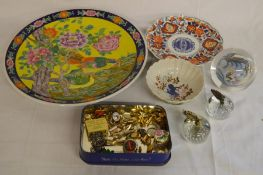 2 apple paperweights, oriental glass orb, Japanese charger, Imari dish & bowl etc