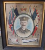 "Large oak framed Great War memorial photographic portrait of a soldier entitled ""For King and"