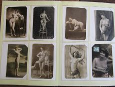 Postcard album containing vintage nudes mainly reproduction approximately 63 cards