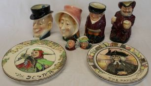 "5 Royal Doulton plates , 4 character / toby jugs including ""The Huntsman"" & ""Sir John Falstaff"""
