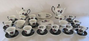 Royal Albert 'Masquerade' pattern coffee and tea set (teapot spout damaged / repaired)