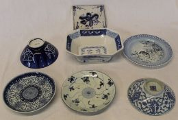 Selection of blue and white table ware including 18th century Chinese dish with indistinct mark (