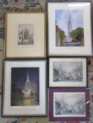 Selection of Louth pictures inc St James from Chequergate by John M Brookes, etching of Louth Church