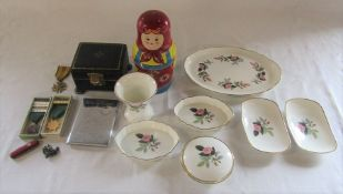 Wedgwood ceramics, Dutch cross for the Four Day marches, Russian dolls etc