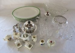 Assorted ceramics and glassware inc cut glass rose bowl, silver plate and crested china