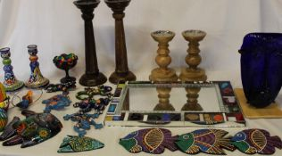 Handmade mirror, 4 wooden candlesticks, green glass face lamp, selection of Mexican pottery fish &