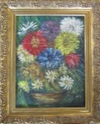 Gilt framed oil on board still life of a vase of flowers 41 cm x 50 cm (size including frame)
